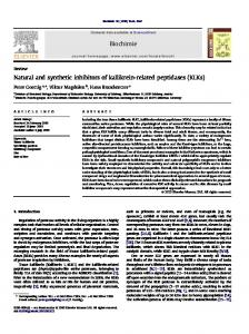 Natural and synthetic inhibitors of kallikrein-related ... - CyberLeninka