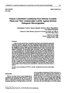 Natural Antioxidant Constituents from Selected Aromatic Plants and ...