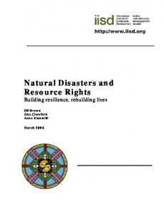 Natural Disasters and Resource Rights - Building resilience ...
