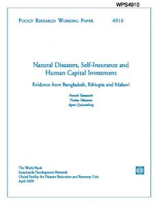 Natural Disasters, Self-Insurance and Human Capital ... - GFDRR