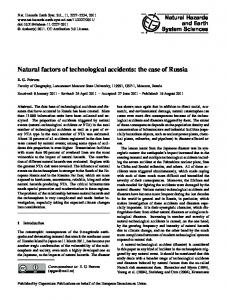 Natural factors of technological accidents - Nat. Hazards Earth Syst. Sci.