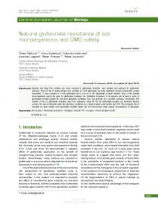 Natural glufosinate resistance of soil microorganisms ...