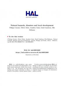 Natural hazards, disasters and local development