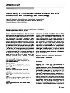 Natural history of cavernous malformations in children ... - Springer Link