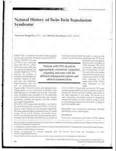 Natural History of Twin-Twin Transfusion Syndrome