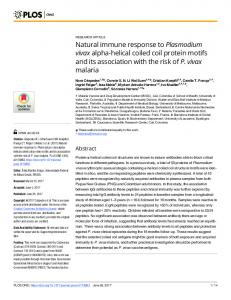 Natural immune response to Plasmodium vivax alpha-helical ... - PLOS