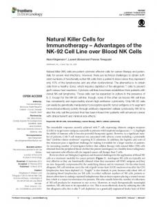Natural Killer Cells for Immunotherapy - Semantic Scholar