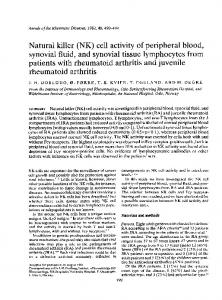 Natural killer (NK) cell activity of peripheral blood ...
