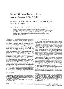 Natural Killing of Tumor Cells by Human Peripheral Blood Cells