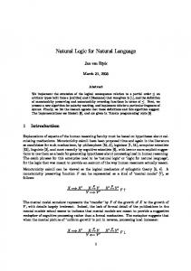 Natural Logic for Natural Language