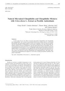 Natural Micronised Clinoptilolite and Clinoptilolite Mixtures with Urtica