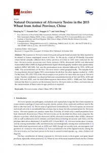 Natural Occurrence of Alternaria Toxins in the ... - Semantic Scholar