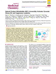 Natural Product Micheliolide (MCL) Irreversibly ... - ACS Publications