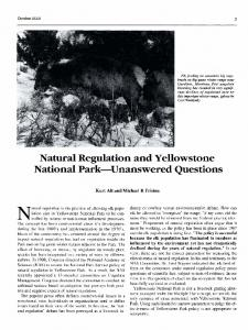 Natural Regulation and Yellowstone National Park-Unanswered ...