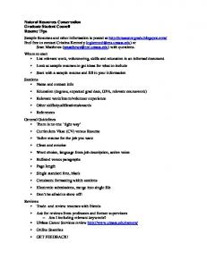 Natural Resources Conservation Graduate Student Council Resume ...