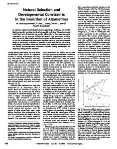 Natural Selection and Developmental Constraints in the Evolution of ...