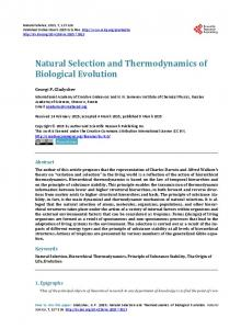 Natural Selection and Thermodynamics of Biological Evolution