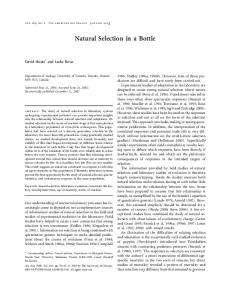 Natural Selection in a Bottle - FSU Biology - Florida State University
