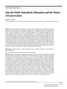 Naturalistic Education and the Future of ... - Wiley Online Library