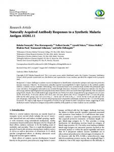 Naturally Acquired Antibody Responses to a Synthetic Malaria Antigen ...