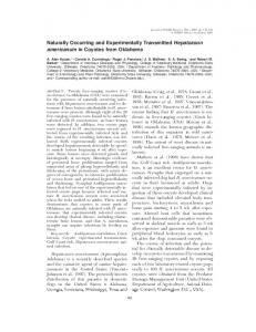 Naturally Occurring and Experimentally Transmitted ... - BioOne