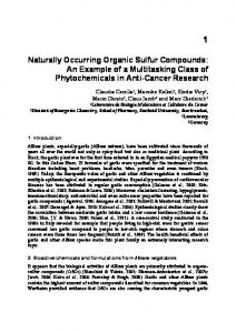 Naturally Occurring Organic Sulfur Compounds - Bharath Institute of