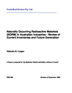 Naturally Occurring Radioactive Materials (NORM) in Australian ...