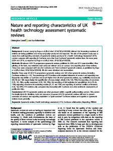 Nature and reporting characteristics of UK health technology ...