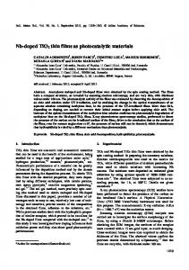 Nb-doped TiO2 thin films as photocatalytic materials - Springer Link