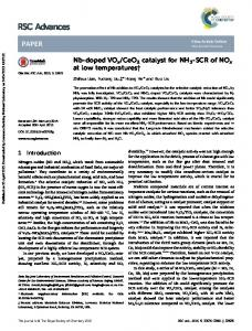 Nb-doped VOx/CeO2 catalyst for NH3-SCR of NOx at low temperatures