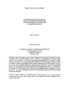 nber working paper series do borders matter for social capital?
