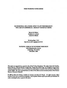 NBER WORKING PAPER SERIES DO INDUSTRIAL RELATIONS ...