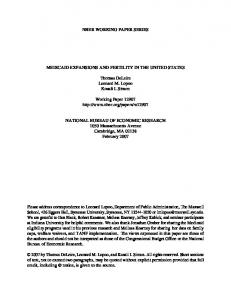 NBER WORKING PAPER SERIES MEDICAID EXPANSIONS AND ...