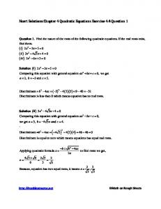 Ncert Solutions Chapter 4 Quadratic Ncert Solutions Chapter 4 ...