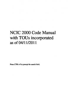 NCIC 2000 Code Manual with TOUs incorporated