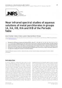 Near infrared spectral studies of aqueous solutions of ... - SAGE Journals