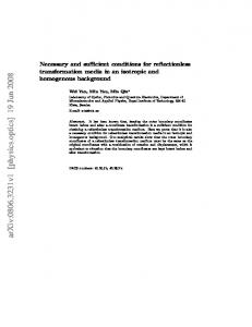 Necessary and sufficient conditions for reflectionless transformation ...