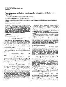 Necessary and sufficient conditions for solvability of the ... - Europe PMC