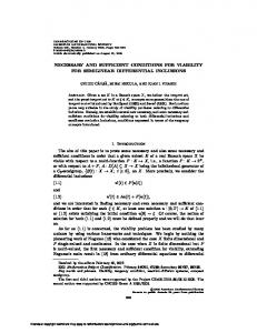 NECESSARY AND SUFFICIENT CONDITIONS FOR VIABILITY FOR ...