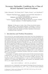 Necessary Optimality Conditions for a Class of Hybrid Optimal Control