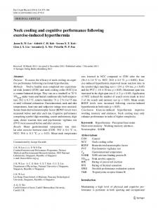 Neck cooling and cognitive performance following