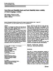Neck Pain and Disability Scale and Neck Disability ... - BioMedSearch