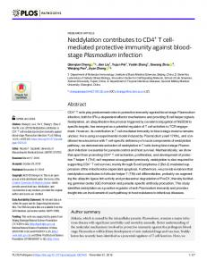 Neddylation contributes to CD4+ T cell-mediated protective ... - PLOS