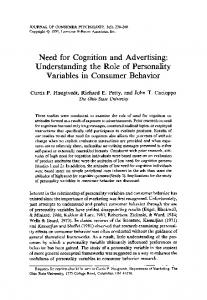 Need for Cognition and Advertising: Understanding ...
