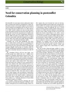 Need for conservation planning in postconflict Colombia