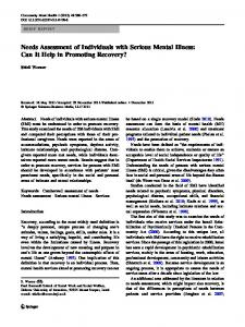 Needs Assessment of Individuals with Serious Mental ... - Springer Link