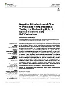Negative Attitudes toward Older Workers and