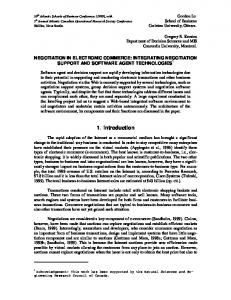 NEGOTIATION IN ELECTRONIC COMMERCE: INTEGRATING ...
