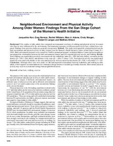 Neighborhood Environment and Physical Activity