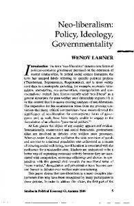 Neo-liberalism: Policy, Ideology, Governmentality